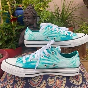 New Teal Green Tie Dye Converse Sz 8.5
